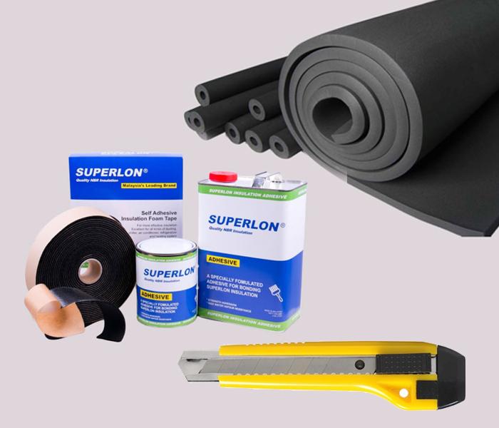 Chuẩn bị vật tư để thi công ống superlon cách nhiệt